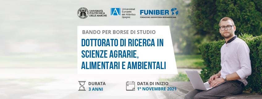 UNEATLANTICO, UNIVPM e FUNIBER lanciano un bando di borsa di studio per il Dottorato di Ricerca in Scienze Agrarie, Alimentari e Ambientali